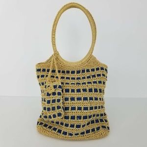 Straw Paper Woven Handbag. Boho. Recycled Denim